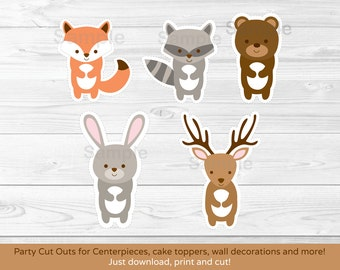 Woodland Forest Animal Cut Outs / Fox / Deer / Bear / Raccoon / Rabbit / Wall Decor / Party Decor / Printable INSTANT DOWNLOAD