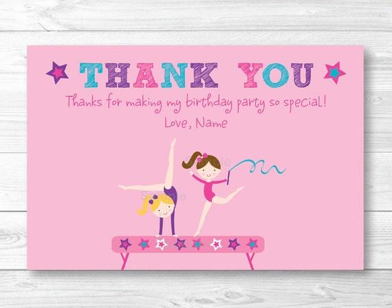 Pink Gymnastics Thank You Card / Gymnastics Girl Thank You ...