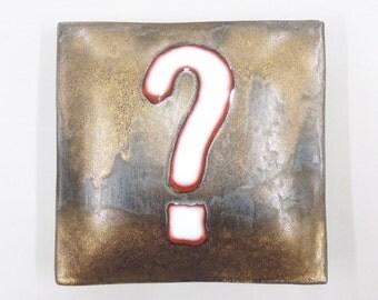 question mark -  porcelain wall pillow