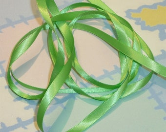 GREEN FLASH DouBLe FaCeD SaTiN RiBBoN, Polyester 1/4 inch wide, 5 Yards