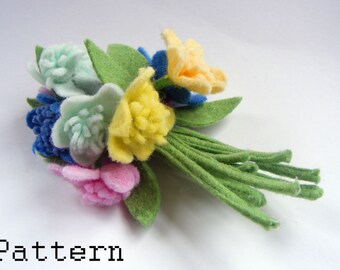 PDF PATTERN Flower Corsage Brooch Pin downloadable : Vintage inspired Felt Flowers Corsage Brooch Pattern