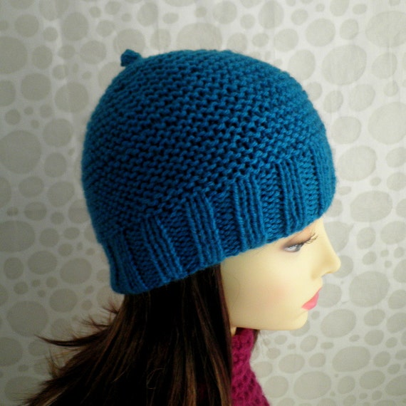 Knitting Pattern For Man s Hat : KNITTING PATTERN Mans Simple Beanie Pattern / Knit ...