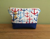 Cosmetic Bag- Anchors- Makeup Bag- Nautical- Gold Zipper- Red White Blue- Stripes- Handmade- Toiletry Bag- Zipper Pouch- KYEbags