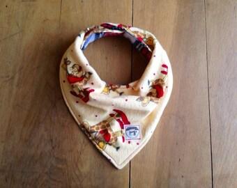 Bandana Bib- Giraffe- Baby Bib- Rocking Horse Bib with Plaid Backside- Flannel- Yellow- Cotton- Handmade Gifts- Snap Bib- Teething