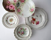 Vintage Pink Floral Plate Bowl Collection Set of Five, Instant Collection Wedding Decor, Tea Party