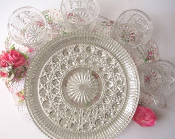 Vintage Federal Windsor Top o the Table Crystal Snack Set for Four