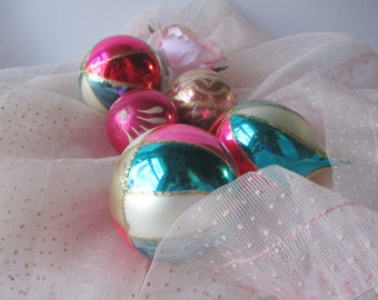 Vintage Glass Pastel Christmas Ornaments Set of Five