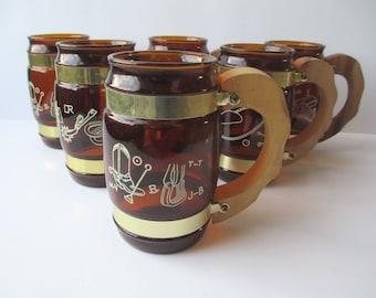 Vintage Siesta Ware Western Style Beer Mugs Set of Six - Retro