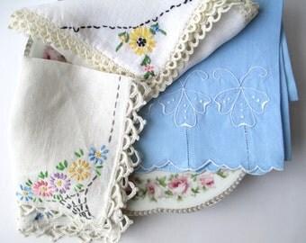 Floral Linen Collection of Three, Tea Towel, Floral Linens, Vintage Tea Parties, Cottage Chic