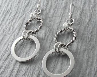 Sterling Silver Dangle Earrings Twisted Wire Earrings Circle Earrings Everyday Simple Earrings Minimalist Jewelry