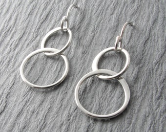 Circle Dangle Earrings Modern Silver Earrings Everyday Earrings Simple Earrings Minimalist Earrings Mother's Day Gift Holiday Gift
