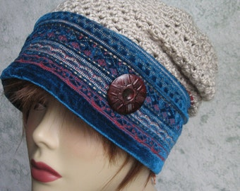 Womens Crochet Slouch Hat Pattern With Tapestry Brim Instant Download Adult Mulit-Sized