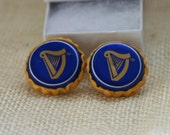 Recycled GUINNESS Cufflinks Blue and Gold with Harp Recycled Guinness Black Lager Cufflinks