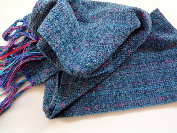 sale handwoven scarf, baltic blue long wide
