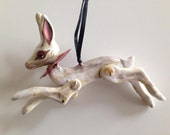 Handmade Leaping White Rabbit Ornament