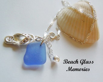 Sterling Silver Anklet - Blue Sea Glass Anklet - Seaglass Anklet - Beach Glass Anklet
