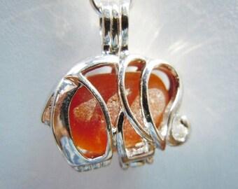 Eco Friendly AmberBrown Elephant Sea Glass Necklace Locket Beach Glass Jewelry