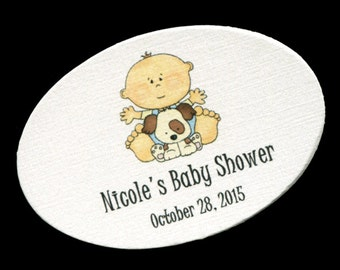 50 Personalized Baby Boy Baby Shower Favor Tags - Baby Boy Shower Tags - Baby Shower Tags - Baby Shower Labels - Baby Boy With Puppy Oval