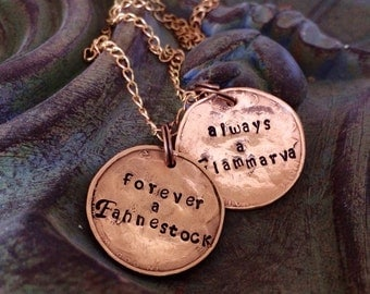 Wedding necklace memento family name LOVE JOINS together for your bride