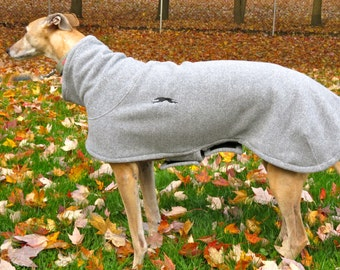 Greyhound Happy's Fleece Jacket in light gray for a Female Greyhound, Size Small