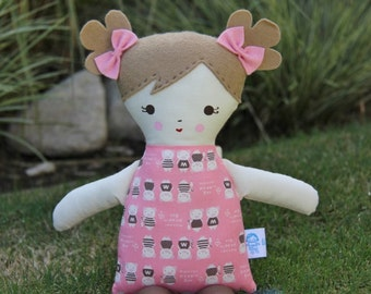 SALE Lil Sister Sprinkles Sandy Brown Hair Handmade Rag Doll (pink piggy print)
