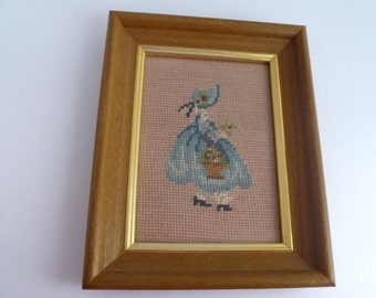 Vintage Needlepoint - Girl in Bonnet with Basket of Flowers - Blue and beige