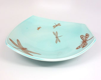 Squared porcelain platter with aquamarine glaze and dragonflies