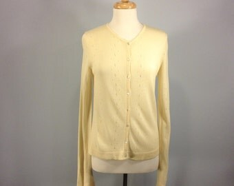 Vintage J Crew sweater, 80s cardigan sweater, ivory sweater, rayon sweater, winter sweater