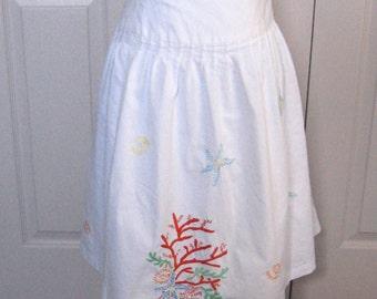 Embroidered skirt . Ocean Motive Skirt . Under the Sea Skirt . coral embroidery . sea life embroidery . ocean motive skirt . ocean life