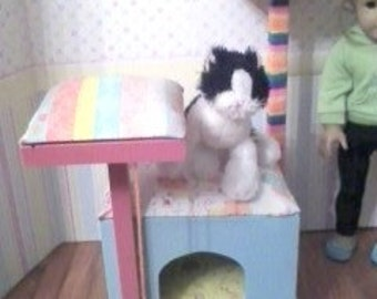 """SALE! 18"""" Doll Cat Condo - 18 inch doll 1:3 scale kitty toy"""