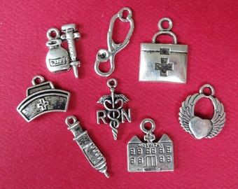 "8 ""Nurse"" RN Medical Themed Charms"