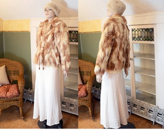 vintage 60s real fox fur coat red blonde jacket shaggy fur coat chubby Jacques Saint Laurent boho festival hippie includes us shipping