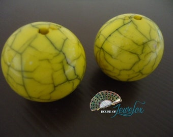 LARGE Round Acrylic Beads - Yellow Turquoise, 32mm - 2x