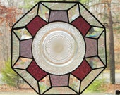 Stained Glass Octagon Panel, Geometric in Purple, Rose, & Clear Iridescent with Vintage Plate (CLEARANCE)