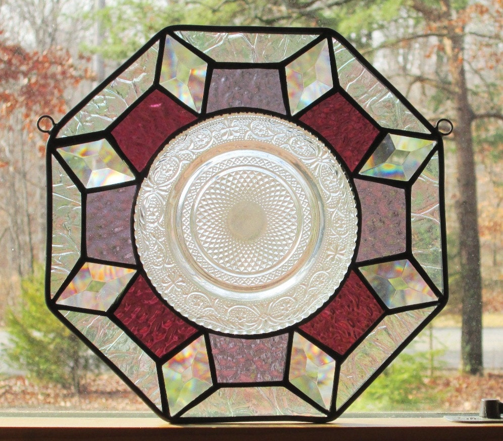 Stained Glass Octagon Panel Geometric In Purple Rose