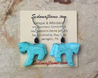 Turquoise Magnesite (dyed) HORSE Fetish Animal Earrings 0101H8