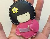 Small size - Sakura the Geisha Doll cowhide leather charm ( Fuschia )