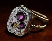 Steampunk Jewelry - RING - Amethyst Swarovski Crystal