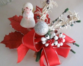 Vintage Christmas Corsage Angel Red Silver White