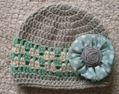 Girl's Gray Off-White Ocean Green Hat - All Sizes - Customize your colors.  Earflap or Beanie available