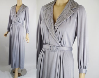 1970s Pearl Grey Formal Evening Gown Sz 14 B40 W32