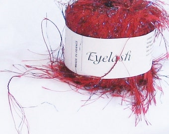 yarn, Ironstone, red, blue, eyelash 10,  F, destash