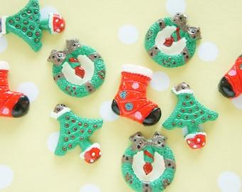 9 pcs Christmas Cabochon Set (tree/wreath/sock) DR450