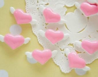 8 pcs Angel Wings Heart Cabochon (11mm23mm) IK135