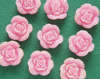 10 pcs  Bling Rose Cabochon (18mm)  Light Pink FL396