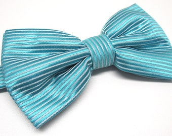 Mens Bowties. Turquoise Bow tie. Teal Blue Stripes Bowtie With Matching Pocket Square Option