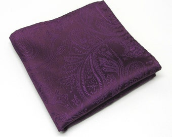 Pocket Square Eggplant Purple Paisley Hankie