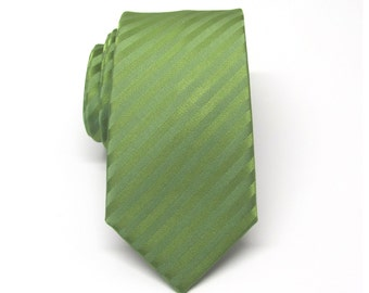 Mens Ties. Skinny Tie. Green Tie. Green Stripes Men's Skinny Tie