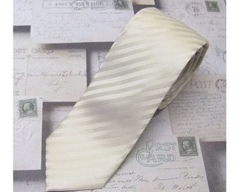 Men's Tie. Skinny Tie. Champagne Cream Stripes Skinny Necktie