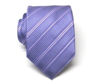 Mens Tie. Lavender and White Stripes Silk Mens Tie